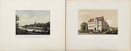 Seven topographical lithographs, sweden, mid 19th century.