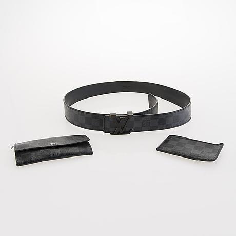 Louis vuitton, damier graphite belt, card holder and a key holder.