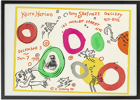 Keith haring, tony shafrazi gallery affisch/poster, offset littografi, signerad i trycket 88.