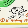 Keith haring, tony shafrazi gallery poster, offset lithograph in colors, signed in the plate 88.