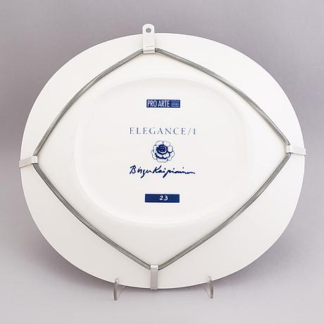 "Birger kaipiainen, a decorative porcelain dish, ""elegance/1"", numbered 23. pro arte, arabia."