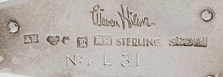 Wiwen nilsson brooch sterling silver, nr l31, lund 1967.