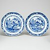 Nine blue and white export porcelain objects, qing dynasty, qianlong (1736-95).