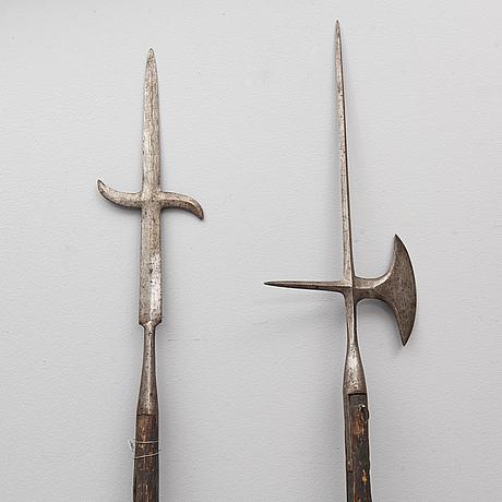Two swedish halberds, pattern 1697.