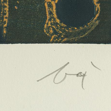 Enrico baj, lithograph in colours, signed 15/50.