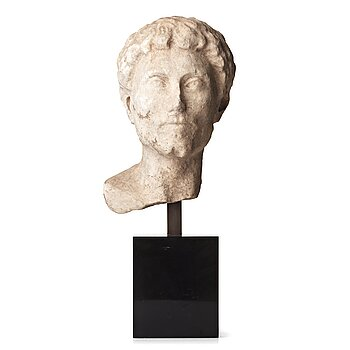 130. A Roman marble head of a man, probably circa late 1st Century A.D.