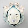 Sergio bustamente, three ceramic mask, signed.