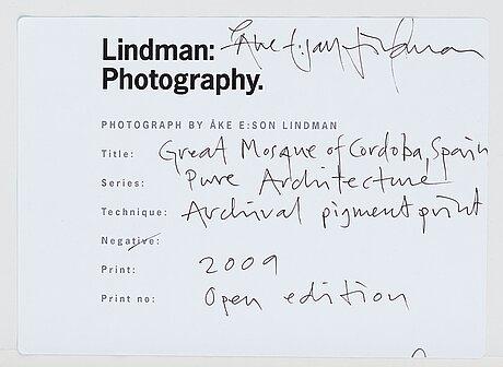 "Åke e:son lindman, ""great mosque of cordoba, spain"", 2009."