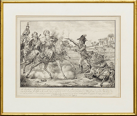 Unknown artist - battle scene, pen and ink, france, turn of the century 1800 / early 19th century.