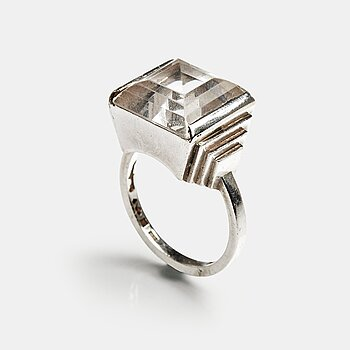 161. Wiwen Nilsson, a sterling and facet cut rock crystal ring, Lund, Sweden, 1950.
