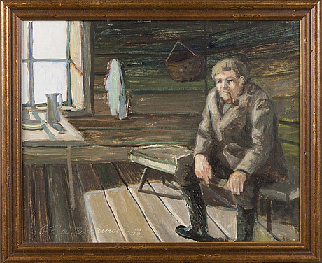 Orvo raatikainen, oil on canvas, signed and dated -56.