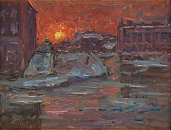 389. Per Ekström, Sunset over Norrbro bridge near the Royal Palace, Stockholm.