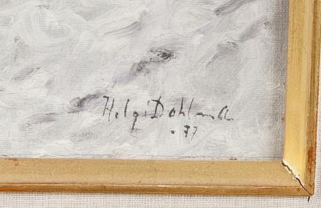 Helge dahlman, öljy levylle, signeerattu ja päivätty -77.