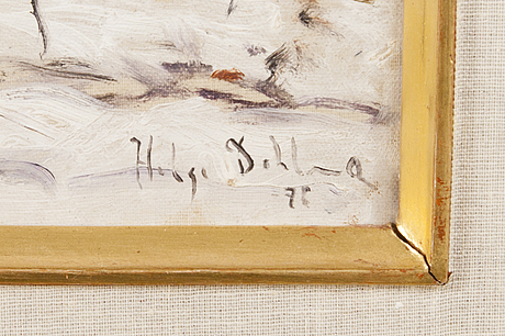 Helge dahlman, oil on panel, signed and dated -78.