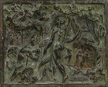 AARRE AALTONEN, relief, painted plaster, signed.