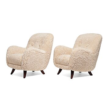 7. A pair of 1940's easy chairs, probably for Berga Möbler, Sweden.