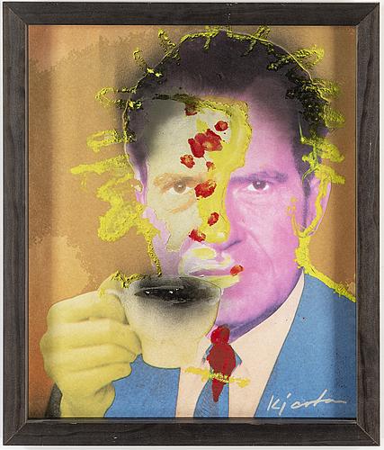 Kjartan slettemark, silkscreen & collage, signed.