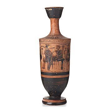 114. An Attic black-figured Lekhytos, probably late 5th Century B.C.