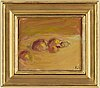 Evert lundquist, oil on canvas mounted on panel, signed with initials. also signed verso.