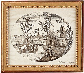 301. AN EMBROIDERY, ivory coloured silk, A Harvest scene, ca 28 x 33 cm, signed and dated Johanna C. Meijer 1803.