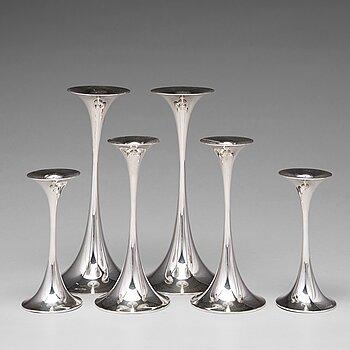 155. Tapio Wirkkala, a set of 6 silver candlesticks ( three pairs), Kultakeskus OY, Hämeenlinna, Finland 1978-87.