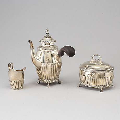 A jacob engelberth torsk three-piece silver coffee service, stockholm 1902-1903.