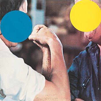 "333. John Baldessari, ""Two Opponents (Blue & Yellow)""."