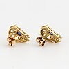 Gold and white gold, rose-cut diamond and cabochon-cut sapphire earings.