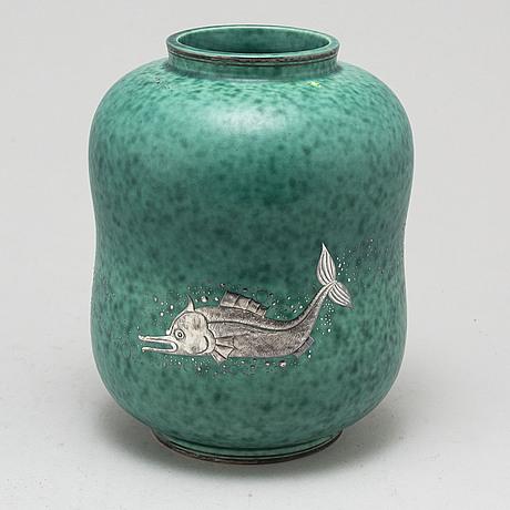 Wilhelm kÅge, an 'argenta' stoneware vase from gustavsberg.