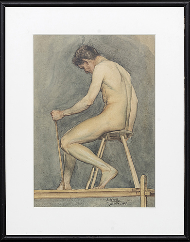 Unknown artist - male modell, water color, signed e stolt berlin 1890.