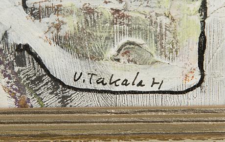 Veikko takala, mixed media on board, signed and dated-71.