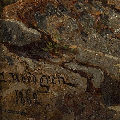 Axel nordgren, olja på duk, signerad och daterad 1862.