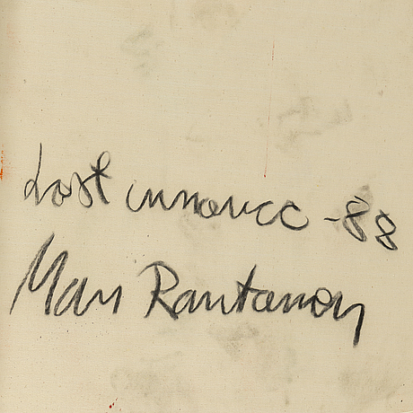Mari rantanen, mixed media on canvas, signed and dated 1988.