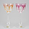 Twelve 'lady hamilton' wine glasses, moser, czechoslovakia, second half of the 20th century.