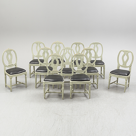 Eleven matched gustavian- style chairs, second half 19th ct.