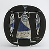 Åke holm, 3 pcs, dish, vase and sculpture, stone ware, second half of the 20th century.
