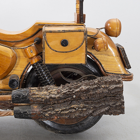 A wooden motor cycle.