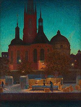 393. Pelle Swedlund, Nocturnal market scene, Riddarholm Church, Stockholm.