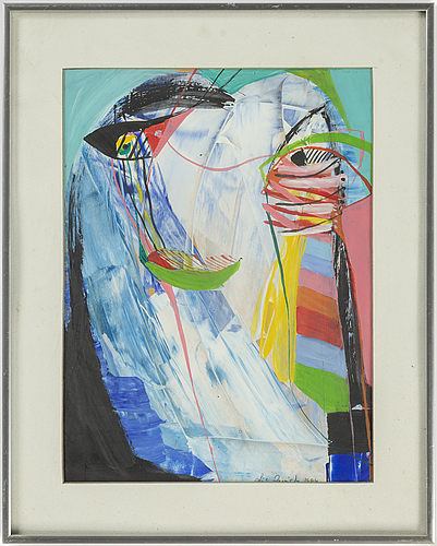 Lis zwick, gouache, signed and dated 1984.