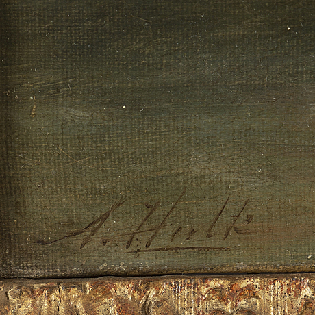 Abraham i hulk, oil on canvas, signed.