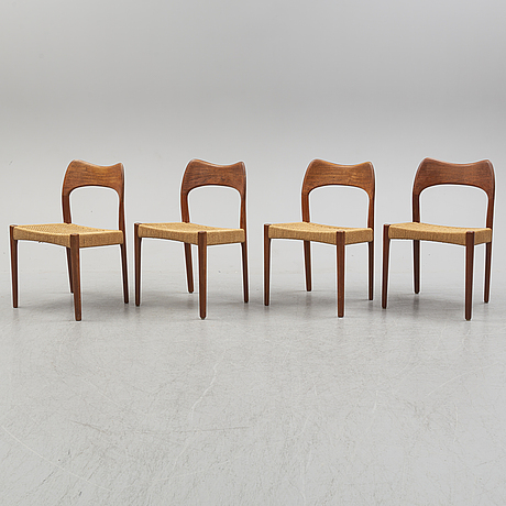 Four teak chairs by niels møller, denmark. second half of the 20th century.