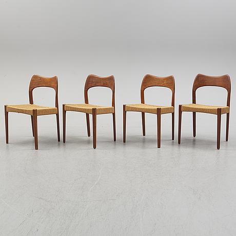 Niels mØller, stolar 4 st, danmark, 1900-talets andra hälft.