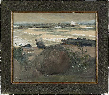 Verner thomÉ, gouache, signed.. executed at hogland around 1906.