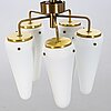 Hans-agne jakobsson, a brass and glass lamp pendant, second half of the 20th century.