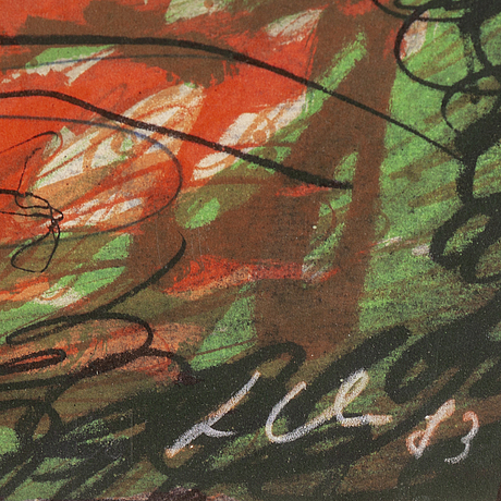 Sandro chia, lithograph in colours, signed ap 1/25.