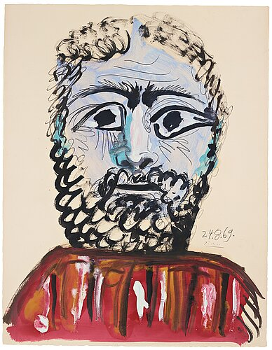 "Pablo picasso, ""buste d'homme""."
