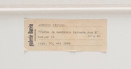 "Antoni tàpies, ""forma le sombrero tachada con equis""."
