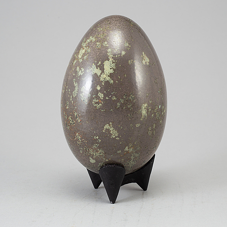 Hans hedberg, a faience sculpture of an egg, biot, france, not signed.