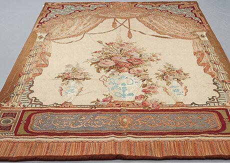 """A tapestry, """"a palace interior"""", ca 314,5 x 185,5-186,5 cm, aubusson probably, second half of the 19th century."""
