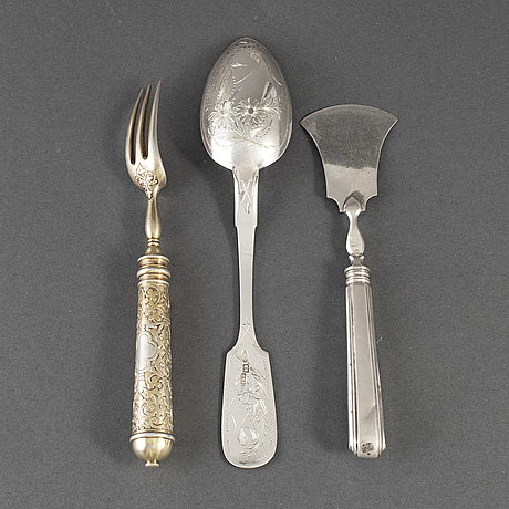 3 russian silver cutlery, late 19th century.